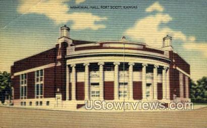 Memorial Hall - Fort Scott, Kansas KS Postcard