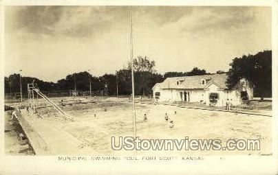 Municipal Swimming Pool - Fort Scott, Kansas KS Postcard