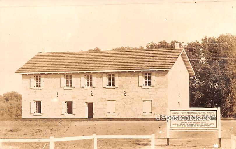 Kansas First Territorial Capitol Building - Fort Riley Postcard