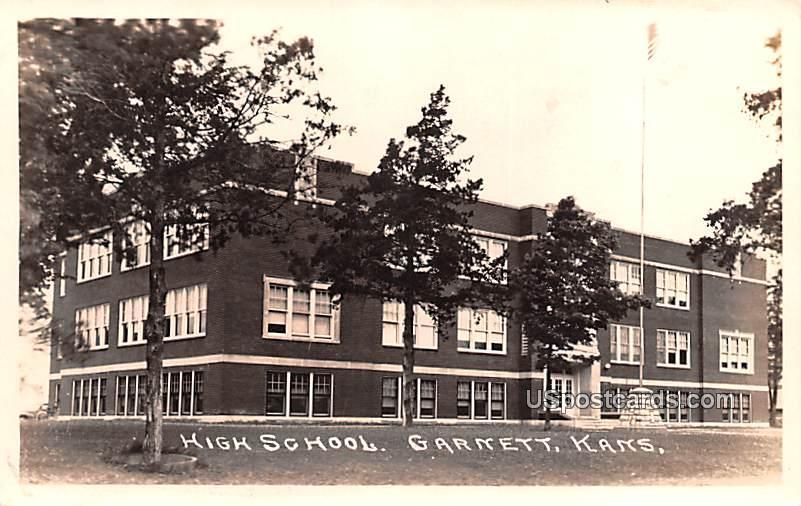 High School - Garnett, Kansas KS Postcard