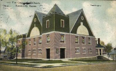 1st Congregational Church - Kansas City Postcards, Kansas KS Postcard