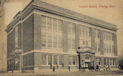 Lincoln School - Ottawa, Kansas KS Postcard