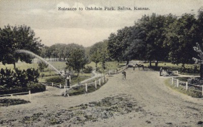 Entrance to Oakdale Park - Salina, Kansas KS Postcard