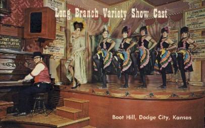 Long Branch Show Cast, Boot Hill - Dodge City, Kansas KS Postcard