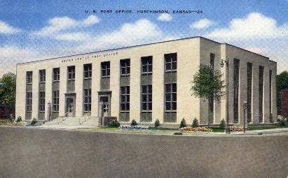 U.S. Post Office - Hutchinson, Kansas KS Postcard