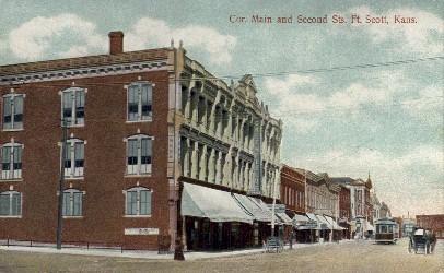 Cor. Main & 2nd Sts. - Fort Scott, Kansas KS Postcard