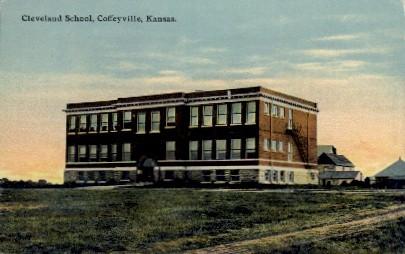 Cleaveland School - Coffeyville, Kansas KS Postcard