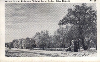 Entrance Wright Park - Dodge City, Kansas KS Postcard