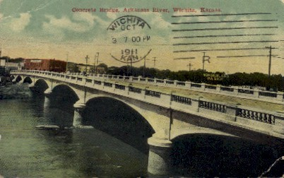 Concrete Bridge - Wichita, Kansas KS Postcard