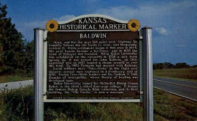 Kansas Historical Marker - Baldwin City Postcard