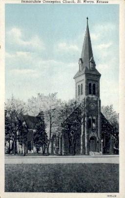 Immaculate Conception Church - Misc, Kansas KS Postcard