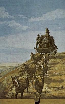 Stagecoach Mural - Dodge City, Kansas KS Postcard