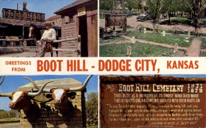 Greetings From Boot Hill - Dodge City, Kansas KS Postcard