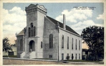 1st Baptist Church - Fort Scott, Kansas KS Postcard