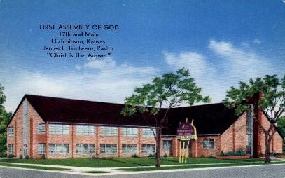 1st Assembly of God - Hutchinson, Kansas KS Postcard