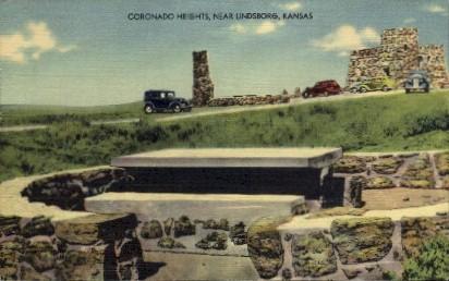 Coronado Heights - Lindsborg, Kansas KS Postcard