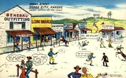 Front Street  - Dodge City, Kansas KS Postcard