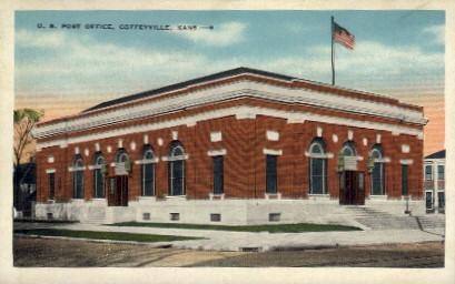 U.S. Post Office - Coffeyville, Kansas KS Postcard