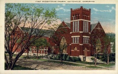 1st Presbyterian Church - Coffeyville, Kansas KS Postcard