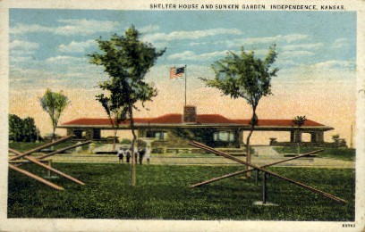 Shelter House & Sunken Garden - Independence, Kansas KS Postcard