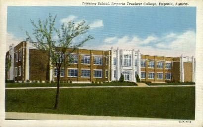 Training School, Emporia Teachers College - Kansas KS Postcard