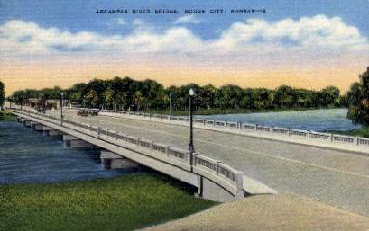 Arkansas River Bridge - Dodge City Postcard