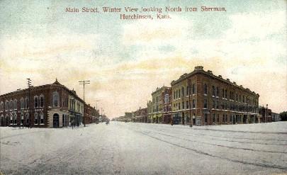 Main Street North - Hutchinson, Kansas KS Postcard