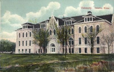 University  - Ottawa, Kansas KS Postcard