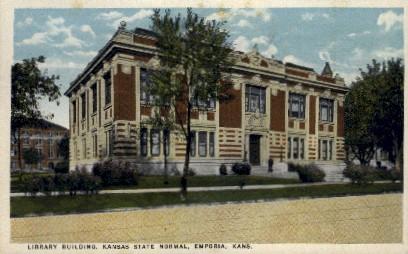 Library Bldg., Kansas State Normal - Emporia Postcard