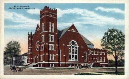 M.E. Church - Coffeyville, Kansas KS Postcard