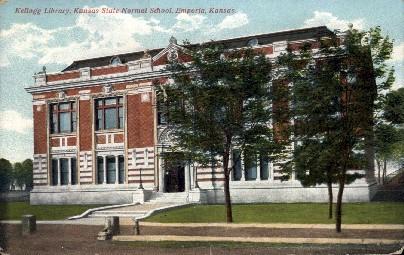 Kellogg Library, State Normal School - Emporia, Kansas KS Postcard