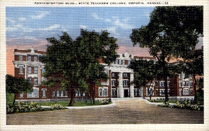 Admin. Bldg., State Teachers College - Emporia, Kansas KS Postcard