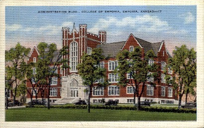 Admin. Bldg., College of Emporia - Kansas KS Postcard