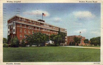 Wesley Hospital, Huston Nurses Home - Wichita, Kansas KS Postcard