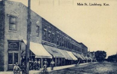 Main St.  - Lindsborg, Kansas KS Postcard