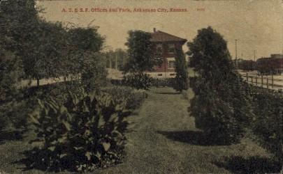 A.T. & S.F. Offices & Park - Arkansas City Postcards, Kansas KS Postcard