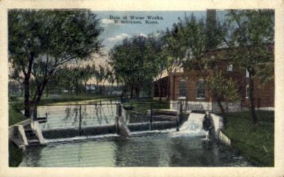 Dam at Water Works - Hutchinson, Kansas KS Postcard