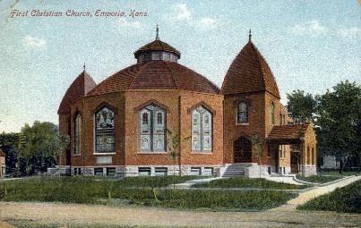 First Christian Church - Emporia, Kansas KS Postcard