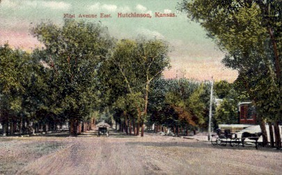 1st Ave. East - Hutchinson, Kansas KS Postcard