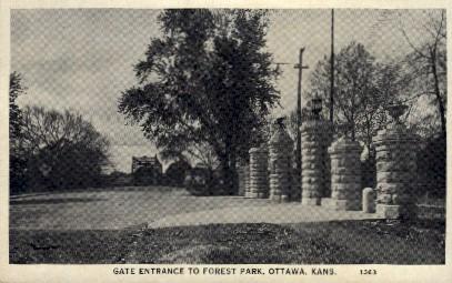 Entrance to Forest Park - Ottawa, Kansas KS Postcard