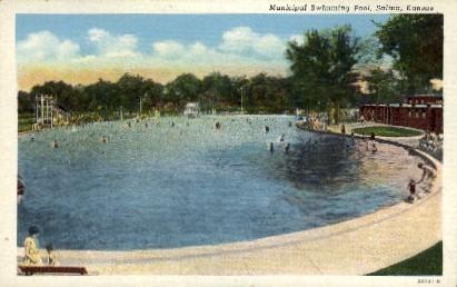 Municipal Swimming Pool - Salina, Kansas KS Postcard