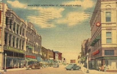 Main Street North - Fort Scott, Kansas KS Postcard