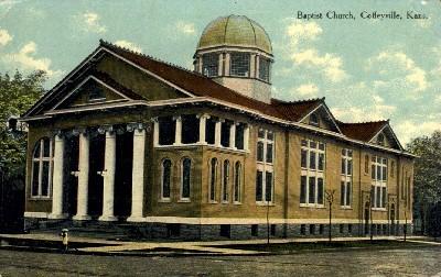 Baptist Church - Coffeyville, Kansas KS Postcard