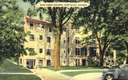 Burk Street Hospital - Fort Scott, Kansas KS Postcard