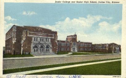 Junior College & Senior High School - Dodge City, Kansas KS Postcard