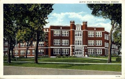 Junior High School - Ottawa, Kansas KS Postcard