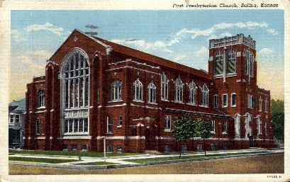 1st Presbyterian Church - Salina, Kansas KS Postcard