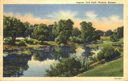 Lagoon, Oak Park - Wichita, Kansas KS Postcard