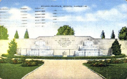 McLean Fountain - Wichita, Kansas KS Postcard
