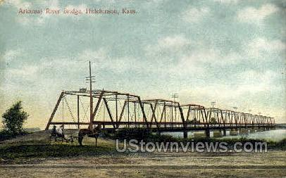 Arkansas River Bridge - Hutchinson Postcard